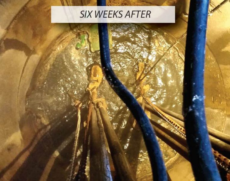 The results of the GridBee AP500 mixer 6 months after installation, with the grease layer significantly reduced.