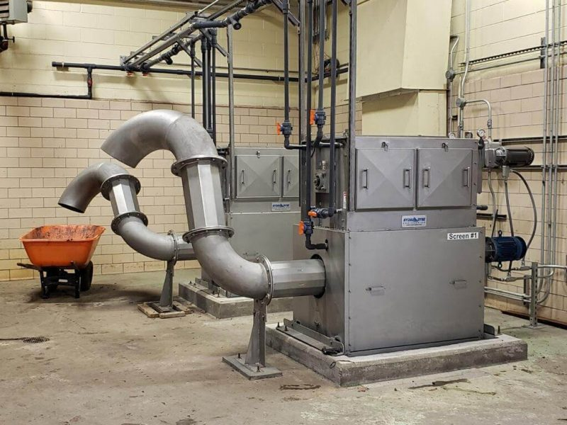 Two Hydro-Dyne Great White Center Flow Screens at Watertown NY sewage treatment plant.