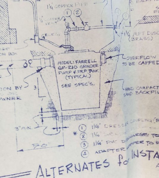 """1976 drawing by Paul Farrell, featuring the """"Farrell GP-210 Grinder Pump""""."""