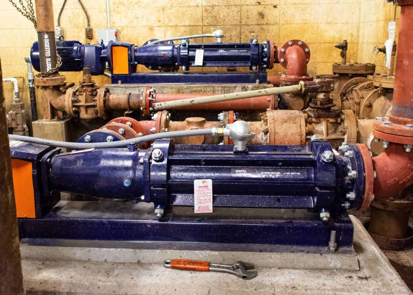 New Seepex progressive cavity pumps replacing old piston pumps in NY WWTP