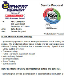 Eone sewage grinder pump service and repair training service proposal