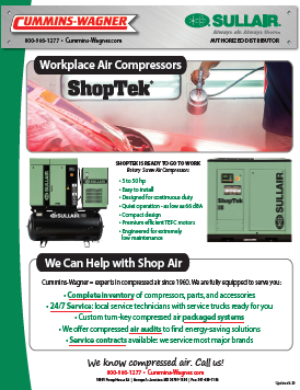 Workplace Air Compressors - Shop Air with Cummins-Wagner and Sullair