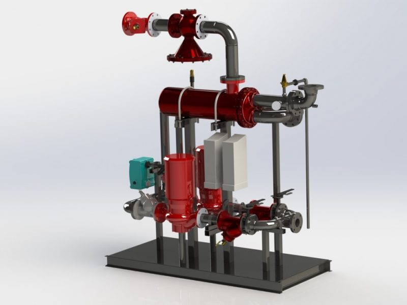 Shell and tube heat exchanger with steam control valve and variable speed drives.