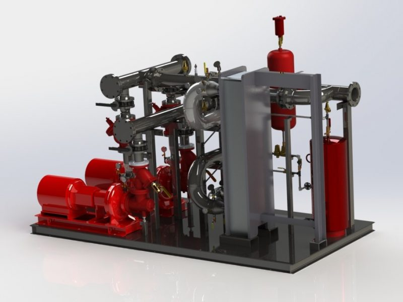 Large duplex heat transfer package with piping and custom base.