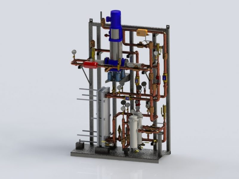 Potable water heating skid package with filters.